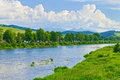 Spring landscape the tatra mountains over the dun with dunajec river poland and slovakia national border view from sromowce nizne Royalty Free Stock Image