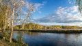 Spring landscape at the Ural river with birch, Russia Royalty Free Stock Photo