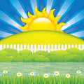 Spring landscape vector illustration of Royalty Free Stock Image