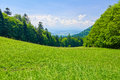 Spring landscape view from mountain pass sunny range pieniny mountains in poland the szopka saddle Royalty Free Stock Photography