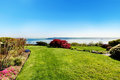 Spring landscape with water view in Tacoma, WA. Royalty Free Stock Photo