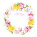 Spring leaves and flowers vector design round frame