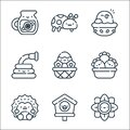 spring line icons. linear set. quality vector line set such as flower, birdhouse, hedgehog, berries, easter egg, water hose, nest Royalty Free Stock Photo