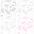 Spring linear pattern flowers seamless beautiful hand drawn illustration with four tiles Stock Image