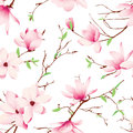Spring magnolia flowers seamless vector pattern Royalty Free Stock Photo