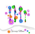 Spring menu with cutlery and colorful daisies Stock Image