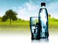 Spring mineral water bottled with glass and ice against natural landscape Royalty Free Stock Photography