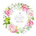 Spring mix of rose, hydrangea, herbs round vector frame