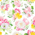 Spring mixed bouquets of pink hydrangea, protea, white poppy, dahlia, orchid, daffodil and bright green plants seamless vector des