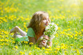 Spring mood beautiful girl with branch of an apple tree Royalty Free Stock Images