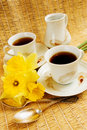 Spring morning coffee Stock Photo