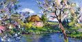 Spring motif painting landscape in lower saxony oil paints on acrylics Stock Photo