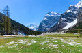 Spring mountain landscape with patches of melting snow, Austria, Tyrol, Karwendel Alpine Park Royalty Free Stock Photo