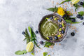 Spring nettle and dandelion smoothie Royalty Free Stock Photo