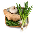 Spring onion, garlic with ginger Royalty Free Stock Photo
