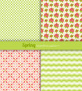 Spring patterns seamless green pink and yellow fabric Royalty Free Stock Image
