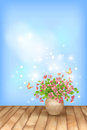 Spring pink flowers butterfly on sky background romantic vector floral scene with blossom bouquet in vase shining lights textured Royalty Free Stock Images