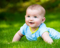 Spring portrait of happy baby boy outdoors on grass in field Royalty Free Stock Image