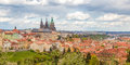 Spring Prague panorama from Prague Hill with Prague Castle, Vlta Royalty Free Stock Photo