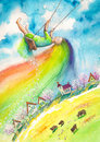 Spring with rainbow hair swinging above village picture created with watercolors Royalty Free Stock Image