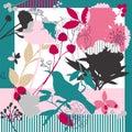 Spring retro floral print. Royalty Free Stock Photo