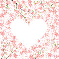 Spring romance romantic heart shaped frame of petals Stock Photo