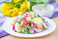 Spring salad radishes cucumbers eggs crouton white plate Royalty Free Stock Photo