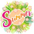 Summer - vector drawing with green leaves, ferns and pink flowers