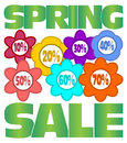 Spring sale advertising with percent in multicolored flowers Stock Photo