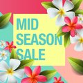 Spring sale background banner with beautiful colorful flower, mid-season sale poster, vector.