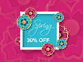 Spring sale background with colorful flower. Pink blue layout template. Card, banner, flyer, poster, brochure or voucher discount