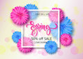 Spring sale background with flowers. Season discount banner. Vector illustration ,template. Wallpaper, flyers