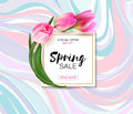 Spring sale background with realistic vector tulips.
