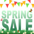 Spring sale banner with flowers in grass and butterflies