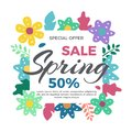 Spring sale banner with flowers Vector illustration in geometric flat style