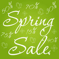 Spring sale banner green with leaves butterflies and flowers vector illustration Royalty Free Stock Photo