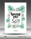 Spring Sale Banner or Poster layout template, jungle leaf