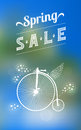Spring sale banner with text lettering and flying bicycle vector illustration easy editable Stock Image