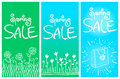 Spring sale banners set of with cute hand drawn flowers and bag vector illustration easy editable Royalty Free Stock Photo