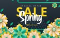 Spring sale. Bright advertising background with flowers, text. The effect of cut paper. Season discount banner design. Vector