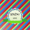Spring sale colorful vector background and ribbon Stock Image
