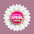 Spring sale label with beautiful flowers