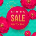 Spring sale poster or web banner design template. Vector springtime flowers and golden glitter text for discount promo