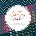 Spring sale round banner on elegant dark luxury background with golden zigzag lines specks Banner design element for discounts