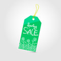 Spring sale tag with text and doodle drawing vector illustration easy editable Stock Photography