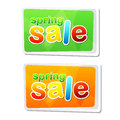 Spring sale in two flat design labels banners text business shopping seasonal concept Stock Photography