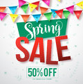 Spring sale vector banner with colorful streamers hanging