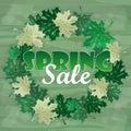Spring Sale Word on Leaves. Vector Illustration