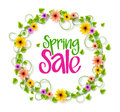 Spring Sale Wreath of Colorful Realistic Vector Flowers and Vines Royalty Free Stock Photo