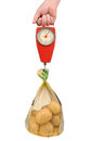 Spring scale with a bag of potatoes